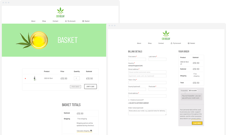 CBD BeLeaf basket and checkout pages on desktop