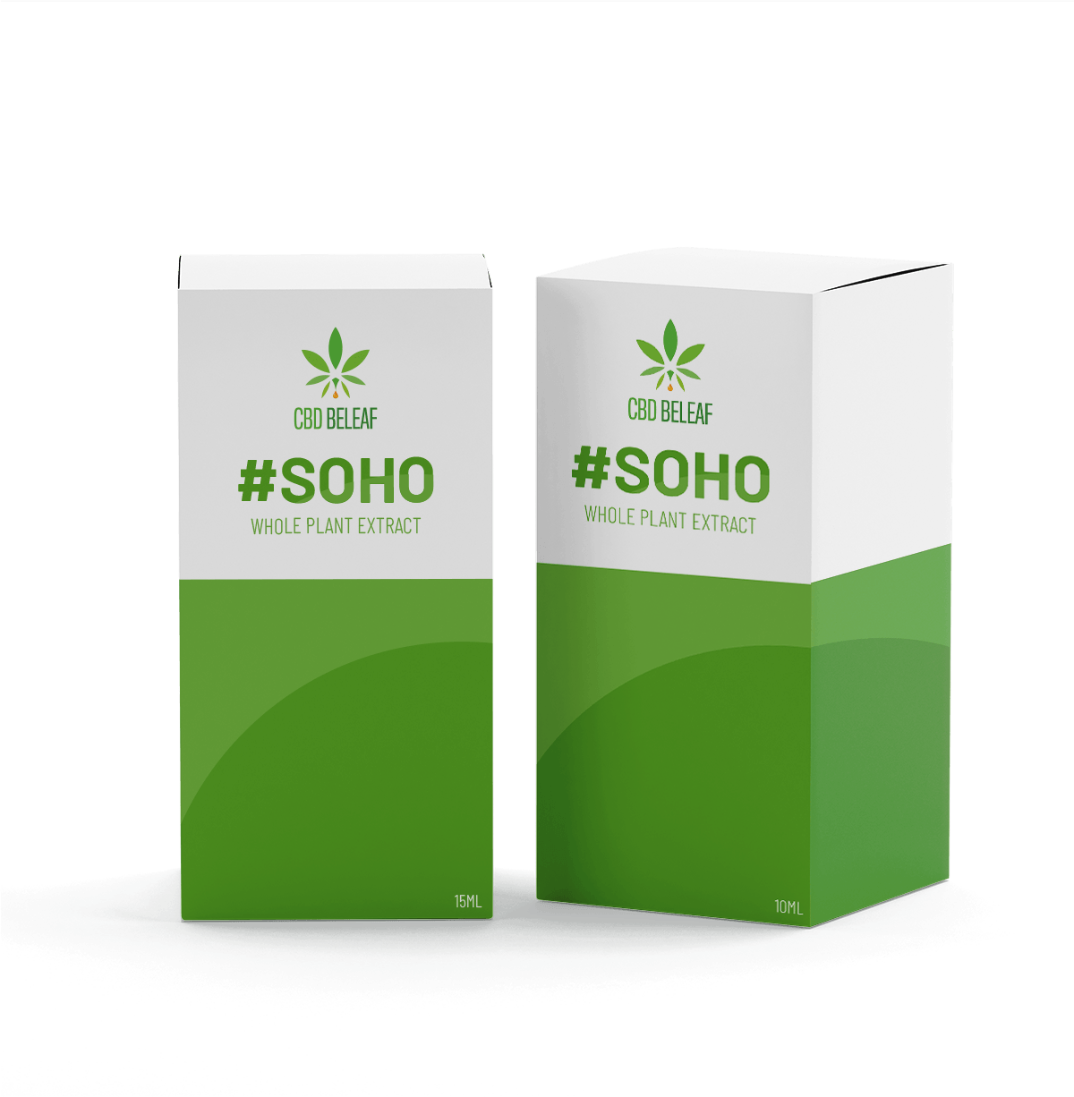 CBD BeLeaf boxes standing upright
