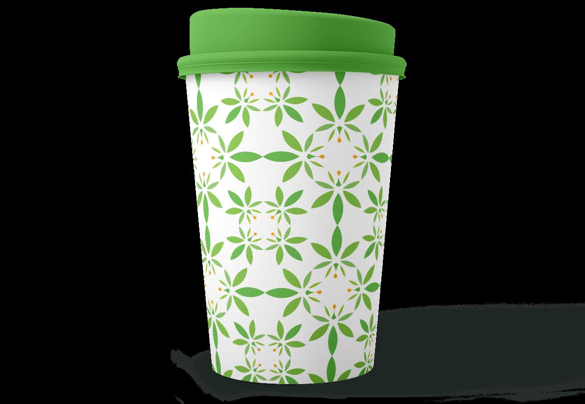 CBD BeLeaf pattern on a plastic coffee cup