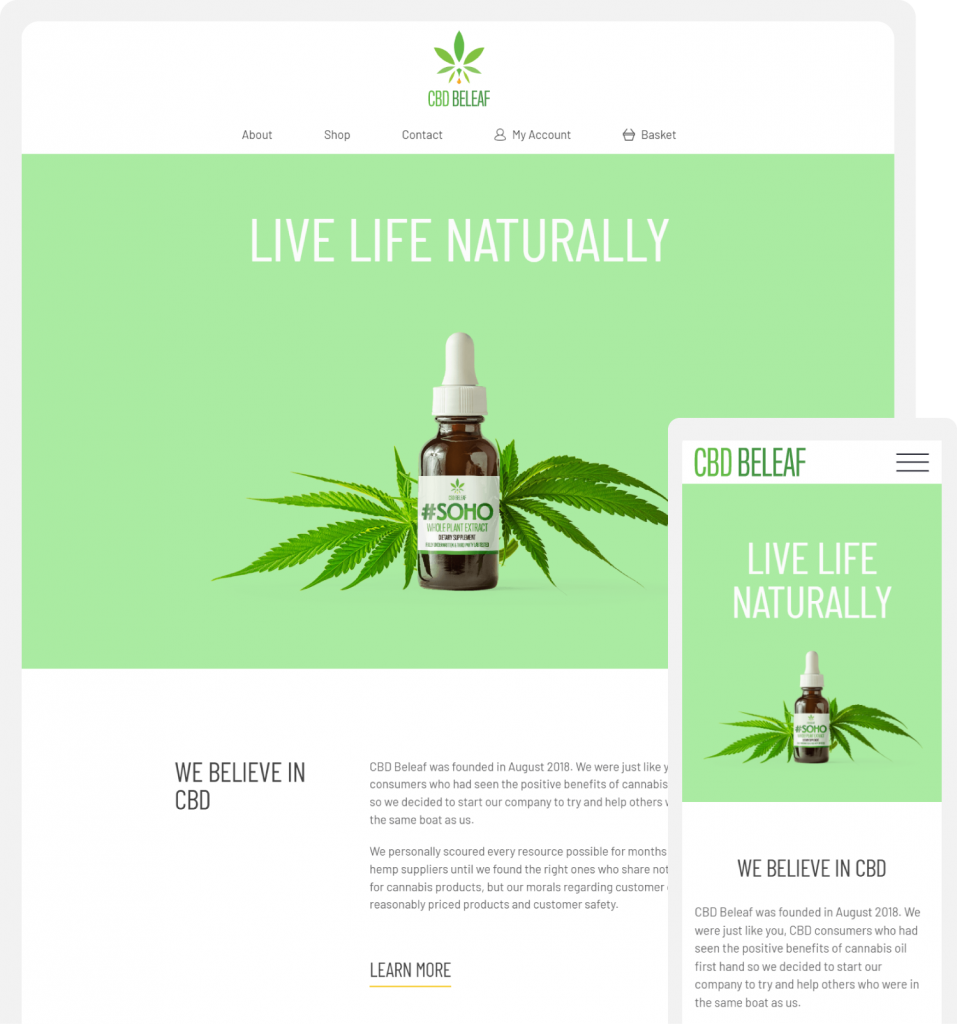 CBD Beleaf Home page on desktop and mobile