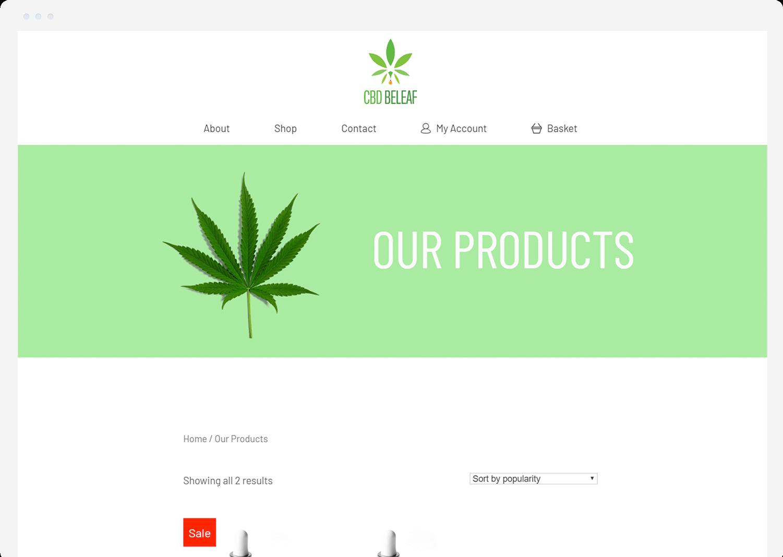 CBD BeLeaf shop page on desktop