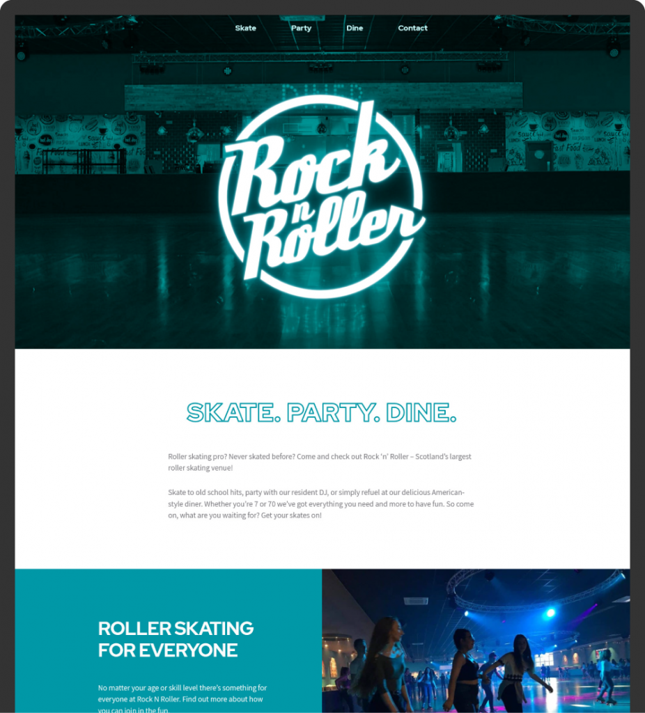 Rock N Roller home page on desktop