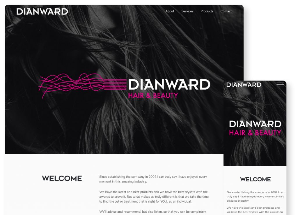 Dianward Home page on mobile and desktop