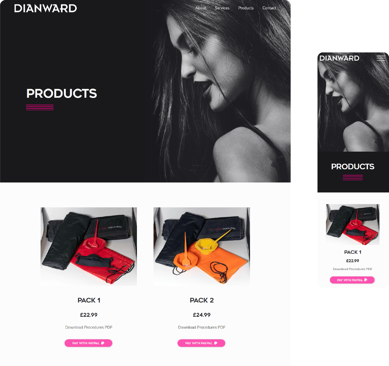 Dian Ward Products page on mobile and desktop
