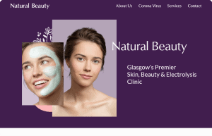 Natural Beauty home hero section on desktop
