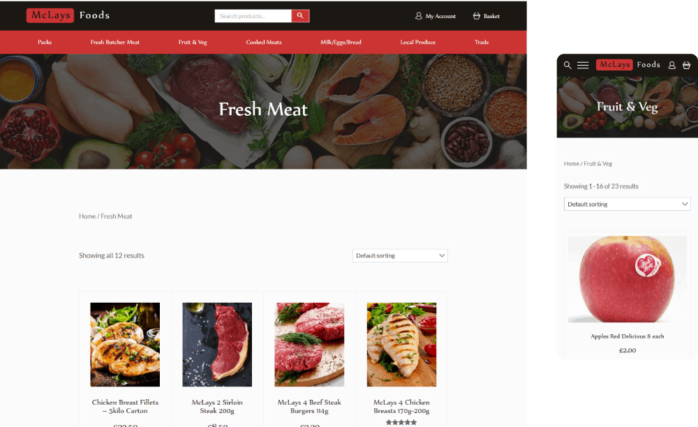 McLays shop page on desktop and mobile