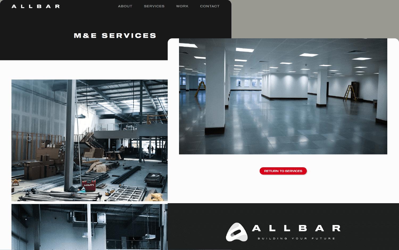Allbar gallery page on desktop