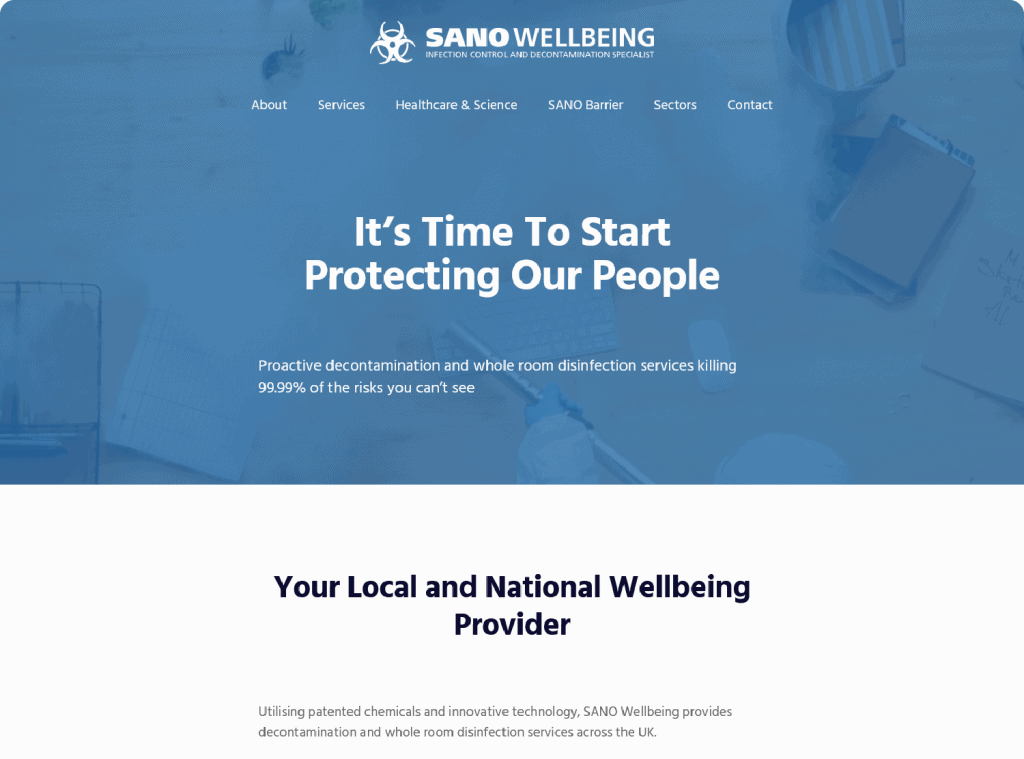 SANO Wellbeing Home Page