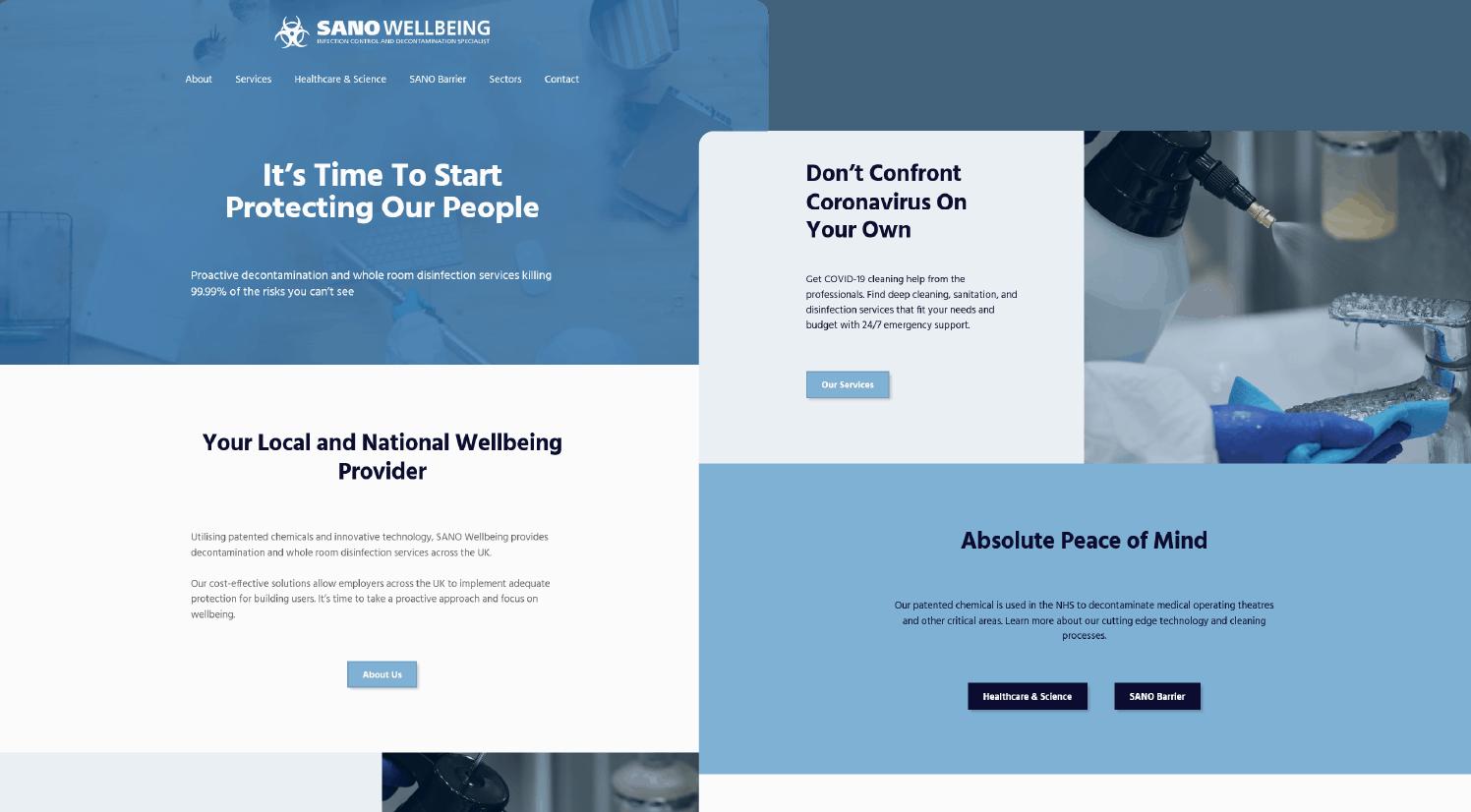 SANO Home page on desktop
