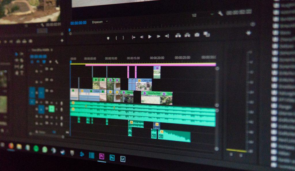 A computer screen showing a video being edited
